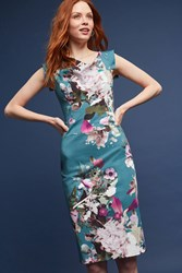 Anthropologie Larenna Floral Sheath Dress Turquoise