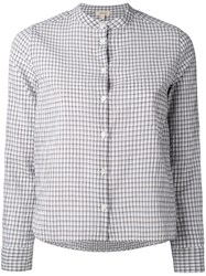 Bellerose Collarless Check Shirt Women Cotton Spandex Elastane 1 White