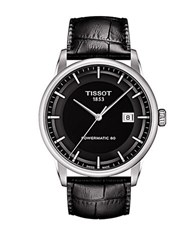 Tissot Men's Luxury Silvertone And Leather Watch Black