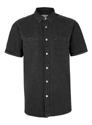 Topman Washed Black Denim Short Sleeve Shirt