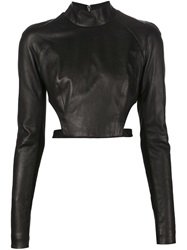 Thierry Mugler Mugler Open Back Longsleeved Top Black