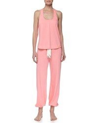 Eberjey Heather Drawstring Cropped Lounge Pants Hot Pink