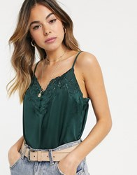 Abercrombie And Fitch Satin Button Front Cami Green