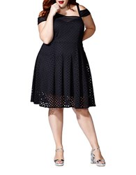 Mblm By Tess Holliday Solid Cold Shoulder Fit And Flare Dress Black