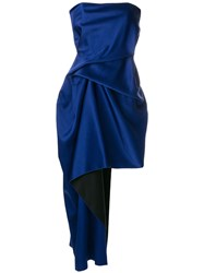 Roland Mouret Asymmetric Draped Dress Blue