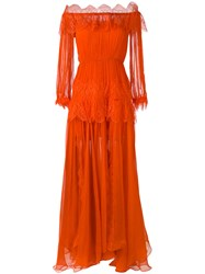 Maria Lucia Hohan 'Ralu' Lace Panelled Gown Women Silk 40 Yellow Orange