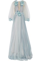 Marchesa Feather And Floral Appliqued Tulle Gown Sky Blue