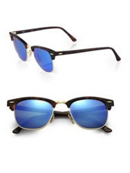 Ray Ban Clubmaster Mirrored Lens Sunglasses Green Silver Blue