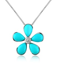 Del Gatto Diamond Gemstone Flower 18K Gold Pendant Necklace Turquoise