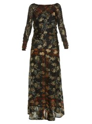 Etro Long Sleeved Floral Print Gown Blue Multi