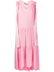 8Pm Shimmer Straps Flared Dress Pink