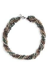 Stella Ruby And Crochet Beaded Collar Necklace Silver Spice