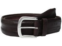 John Varvatos Boarded And Washed Leather Strap Belt With Buckle Chocolate Men's Belts Brown