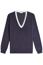 Brunello Cucinelli Embellished Pullover With Virgin Wool Cashmere And Silk Blue