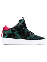 Mason Garments Pink And Green 'Barzilla Mid 2.0 Painter' Sneakers Men Polyester Canvas Rubber 40 Black