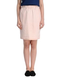 White Tent Knee Length Skirts Pink