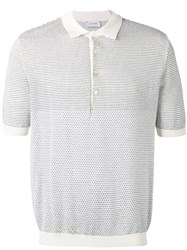 Christophe Lemaire Patterned Knit Polo Men Cotton Polyurethane Cashmere L White