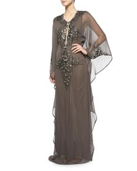Kaufman Franco Jeweled Chiffon Dress Alloy
