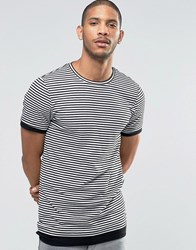Asos Longline Muscle T Shirt In Stripe Rib White Black
