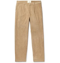 Folk Signal Tapered Pleated Cotton Corduroy Trousers Neutrals