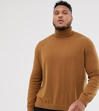 New Look Plus Roll Neck Jumper In Camel Brown