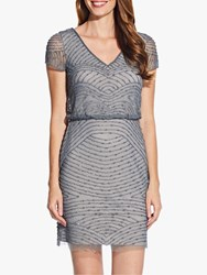 Adrianna Papell Blouson Beaded Dress Pewter Silver
