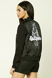 Forever 21 Los Angeles Bomber Jacket Black White