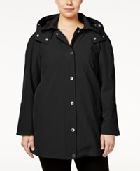 Calvin Klein Plus Size Hooded A Line Raincoat Black