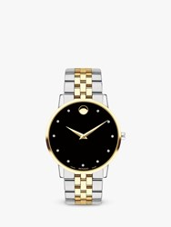 Movado 607202 'S Museum Classic Diamond Two Tone Bracelet Strap Watch Silver Gold
