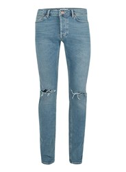 Topman Blue Wash Vintage Ripped Stretch Skinny Jeans
