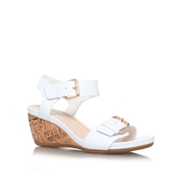 Carvela Comfort Splinter Low Wedge Heel Sandals White