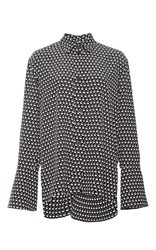 Marni Silk Crepe Button Up Blouse With Flared Sleeves Black