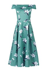 Jolie Moi Floral Print Midi Prom Dress Green