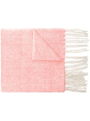 Closed Woven Tassel Scarf Pink And Purple