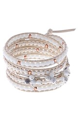 Nakamol Design Leather And Agate Wrap Bracelet White