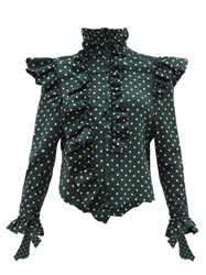 Vetements Ruffled Trim Polka Dot High Neck Blouse Green Multi