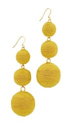 Kenneth Jay Lane Triple Tier Drop Earrings Yellow
