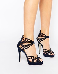 Forever Unique Lagoon Caged Suede Heeled Sandals Midnight