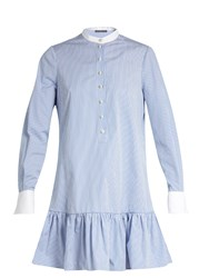 Alexander Mcqueen Mandarin Collar Cotton Poplin Shirtdress Blue Stripe