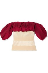 Hellessy Off The Shoulder Ruffled Paneled Jacquard Blouse Crimson