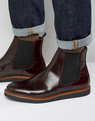 House Of Hounds Chelsea Boots With Brogue Detail Burgundy Red