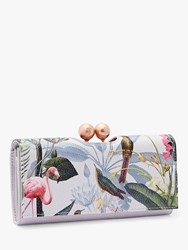 Ted Baker Cher Floral Print Leather Matinee Purse Light Grey