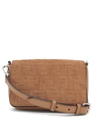 Fendi Ff Embossed Suede And Leather Cross Body Bag Brown