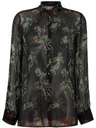 Etro Sheer Floral Print Shirt Black