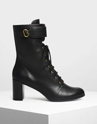 Charles And Keith Buckle Detail Laced Up Calf Boots Black