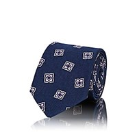 Fairfax Floral Medallion Silk Faille Necktie Navy