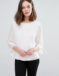 Only Risa Embellished Blouse Marshmallow Cream