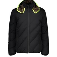 Fendi Reversible Padded Logo Jacket Nero Fluo Yellow
