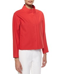 Lafayette 148 New York Olson Snap Front Topper Jacket Red