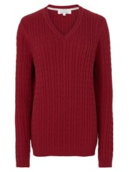 Tulchan Classic Cable V Neck Jumper Red